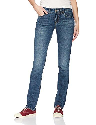Silver Jeans Co Women's Suki Curvy Fit Mid Rise Straight Leg Jeans , Medium Sandblast, 28×30