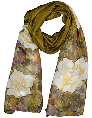 Invisible World Women's 100% Mulberry Silk Scarf Long Hand Painted Floral-Brown