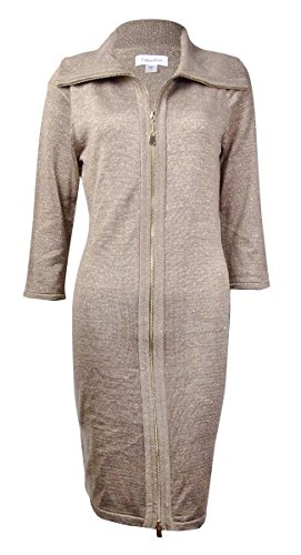 Calvin Klein Women's Plus-Size Elbow Sleeve Zip Front Sweater Dress, Taupe/Gold, 1X