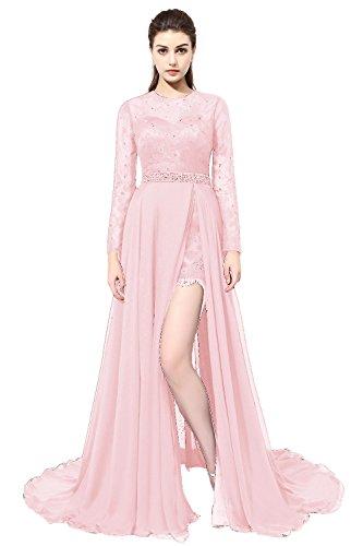 SDRESS Women's Beaded Sequines Long Sleeve Scoop Neck Spit Side Hi-lo Prom Dress Pink Size 24