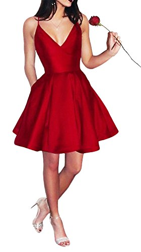 Yangprom Short Spaghetti Straps V-Neck A-line Homecoming Dress with Pockets (2, Red)