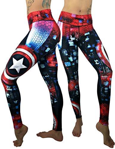 Activewear Superhero Many Styles Leggings Yoga Pants Compression Tights (Captain America 2)