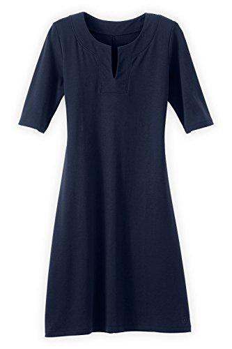 Fair Indigo Fair Trade Organic Split Neck Dress (M, Midnight Navy)