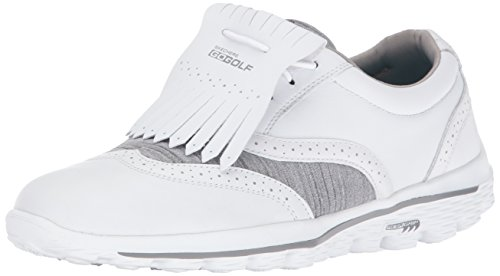 Skechers Performance Women's Go Golf Kiltie 2.0 Golf Shoe,White/Gray,5.5 M US