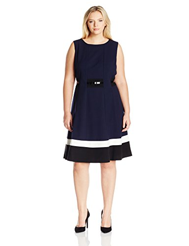 Calvin Klein Women's Plus Size Fit and Flare Color Block with Belted Waist, Twilight Multi, 16