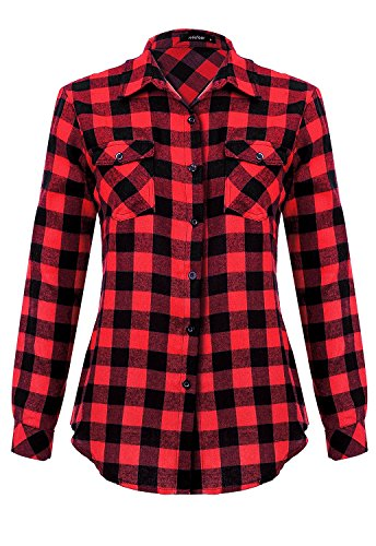 Mixfeer Women's Roll Up Long Sleeve Plaid Button Down Casual Shirt