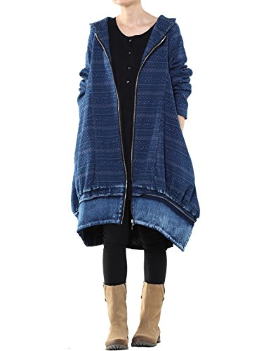 Mordenmiss Women's New Loose Fit Hoodie Zipper Up Denim Trench Coat With Pockets, Style 1-blue, Large