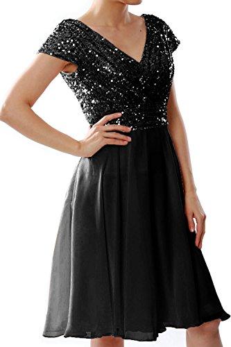 MACloth Women Cap Sleeve Short Bridesmaid Dress Sequin Wedding Party Formal Gown (16w, Black-S)