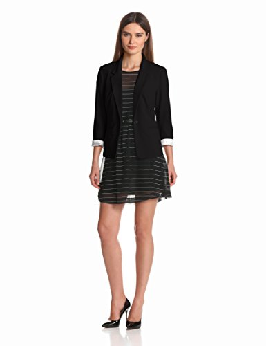 kensie Women's Stretch Crepe Blazer, Black, X-Large