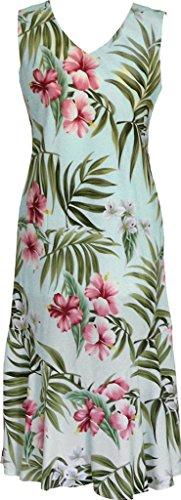 RJC Women's Breathtaking Island Getaway Tea Length Sleeveless Hawaiian Dress Aqua Q1X Plus