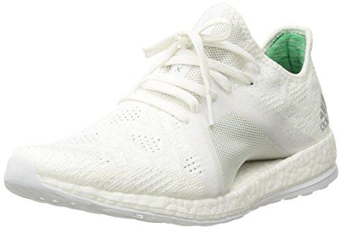 adidas Women's Pureboost X Element Running Shoe, White/Grey Two/Green, 8 M US