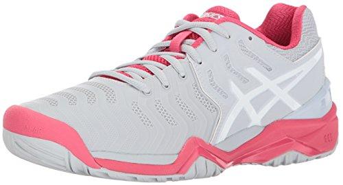 ASICS Womens Gel-Resolution 7 Tennis Shoe, Glacier Grey/White/Rouge Red, 7.5 Medium US