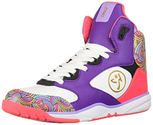 Zumba Athletic Footwear Women's Energy Boom High Top Dance Workout Sneakers with Enhanced Comfort Support, Lavendar, 7