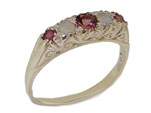 925 Sterling Silver Real Genuine Pink Tourmaline and Opal Womens Band Ring – Size 11