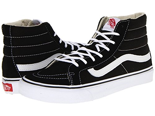 Vans Sk8-Hi Unisex Casual High-Top Skate Shoes, Comfortable and Durable in Signature Waffle Rubber Sole (40 M EU / 9 B(M) US Women / 7.5 D(M) US Men, Slim Black/White)