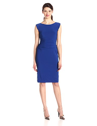 Nine West Women's Cap Sleeve Ruched Waist Madelyn Dress, Regal Blue, 12