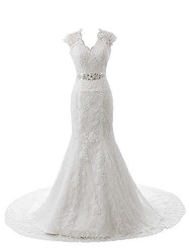 Ubridal Real Pictures Embroidery Lace Mermaid Court Wedding Dresses Bridal Gowns White 12