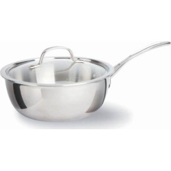 calphalon tri ply stainless steel 3 qt covered chefs pan grey - Calphalon Tri-Ply Stainless Steel 3-qt. Covered Chef's Pan, Grey