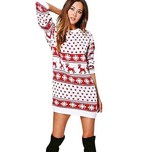 KESEELY New Women Fashion Christmas Dress Long Sleeve Outfit Xmas Sweater Mini Dress (S, White)
