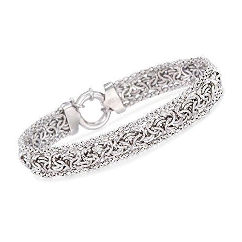 Ross-Simons Sterling Silver Narrow Beaded Byzantine Bracelet