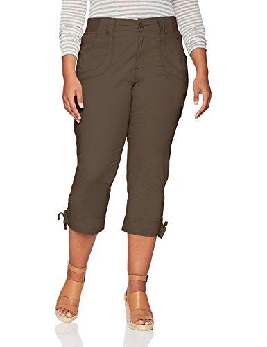 LEE Women's Plus-Size Relaxed Fit Nikki Knit Waist Capri Pant, Tarmac, 18W Medium