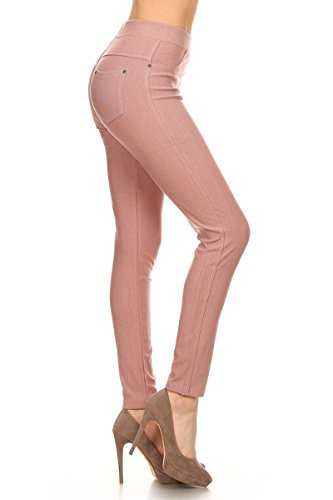 Leggings Depot Premium Quality Jeggings Regular and Plus Soft Cotton Blend Stretch Jean Leggings Pants w/Pockets (2X-3X, Mauve)