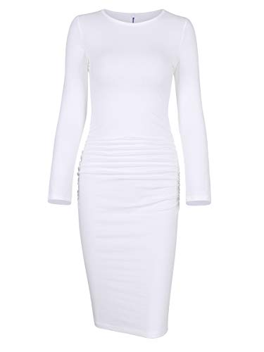 Missufe Women's Long Sleeve Sheath Sundress Ruched Midi Bodycon Dress (Small, Long Sleeve White)