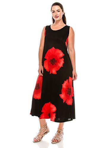 Jostar Sleeveless Printed Stretchy Tank Long Dress in Red Medium