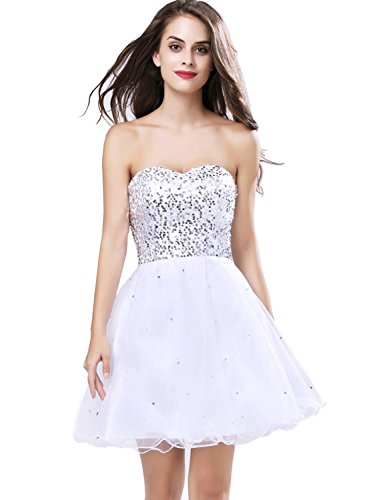 Sarahbridal Womens Short Tullle Sequins Homecoming Dress Prom Gown Sliver US16
