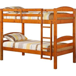 solid wood twin over twin bunk bed honey kissed saracina home - Solid Wood Twin Over Twin Bunk Bed - Honey Kissed - Saracina Home