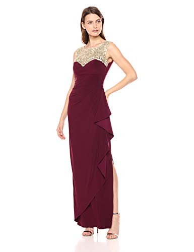 Alex Evenings Women's Long Cap Sleeve Side Ruched Dress (Petite and Regular Sizes), Wine, 8