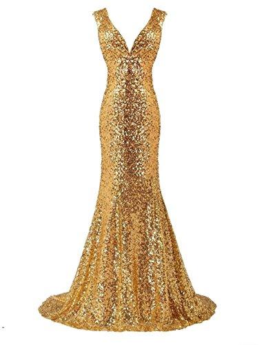 LanierWedding Gold Sequins Mermaid V Neck Bridesmaid Dresses Plus Size Prom Dresses Gold Size 4