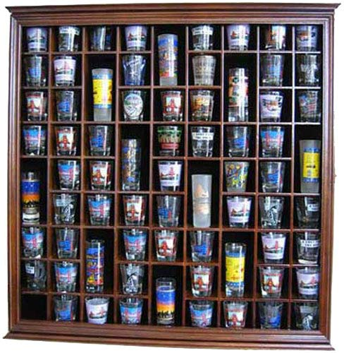 71 shot glass rack wall display case holder cabinet solid wood walnut finish - 71 Shot Glass Rack Wall Display Case Holder Cabinet, Solid Wood (Walnut Finish)