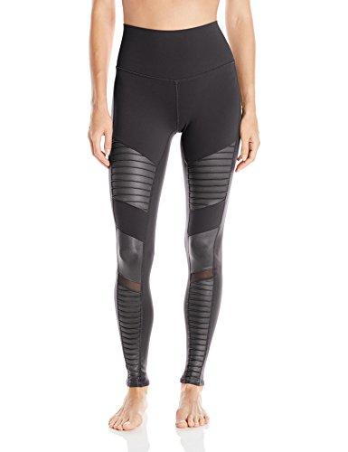 Alo Yoga Women's High Waisted Moto Legging, Black Glossy, S