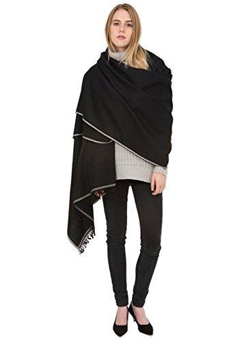 Shoreditch Merino Wool Oversize Scarf Black 100 X 200