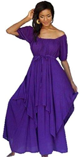 Lotustraders Peasant Dress Lagenlook Maxi Misses Plus Purple 5X U257