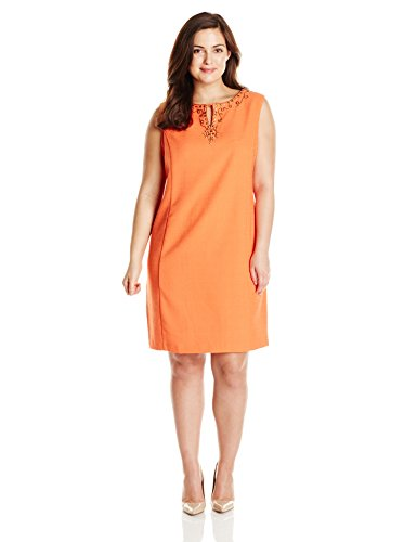 Sandra Darren Women's Plus-Size Sleeveless Embellished Darby Dress, Orange, 20W