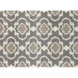 World Rug Gallery Florida Cozy Moroccan Trellis Shag Rug, Med Grey