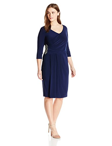 Alex Evenings Women's Plus-Size Side Ruch Dress with Beaded Waist Detail, Dark Blue, 16W