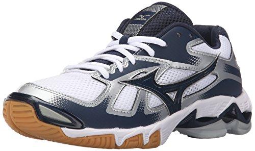Mizuno Women's Wave Bolt 5-W Volleyball Shoe, White/Navy, 9