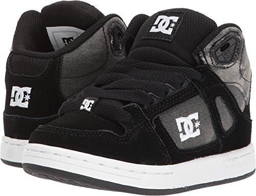DC Boys Youth Rebound SE Skate Shoes, Black Print, 6 M US Big Kid