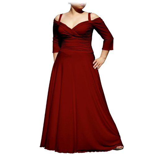 EVANESE Women's Plus Size Elegant Long Formal Evening Dress with 3/4 Sleeves 4X. Wine