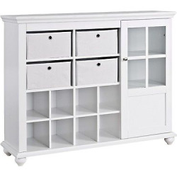 reese park storage cabinet with 4 fabric bins glass door white ameriwood - Reese Park Storage Cabinet with 4 Fabric Bins Glass Door - White - Ameriwood Home