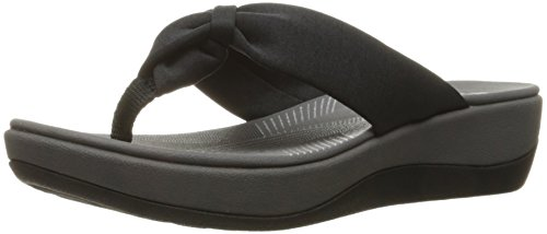 CLARKS Women's Arla Glison Flip-Flop, Black Fabric, 8 Medium US
