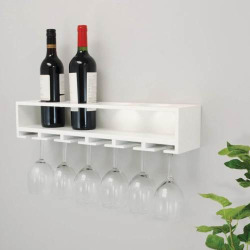 kiera grace claret wine bottle glass rack wall shelf white - Kiera Grace Claret Wine Bottle & Glass Rack Wall Shelf, White