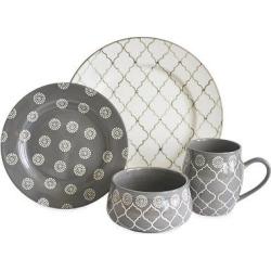 baum bros morocco 16pc dinnerware set gray - Baum Bros. Morocco 16pc Dinnerware Set Gray