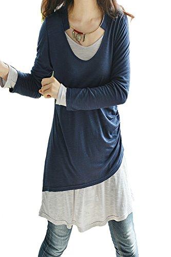 Idea2lifestyle Women's Idea2lifestyle Women's Cotton Layered Tunic Dress Set Blue and Light Gray (S(US 6))