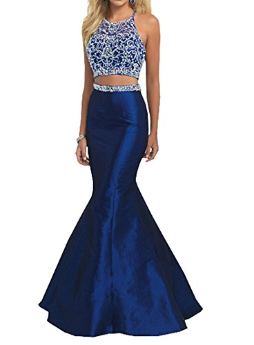 Lava-ring Women's Two Piece Mermaid Prom Dress Crystal Beaded Halter Neck Long Dress US8