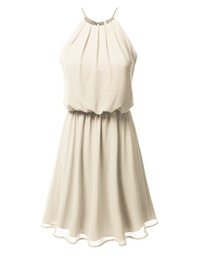 DRESSIS Women's Halter Solid Sleeveless Short Fit-and-Flare Dress, Awdsd0700_taupe, Large