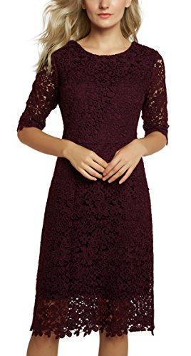 Urban CoCo Women's Lace Sheath Dress Slim Fit Midi Dress (S, Wine Red)